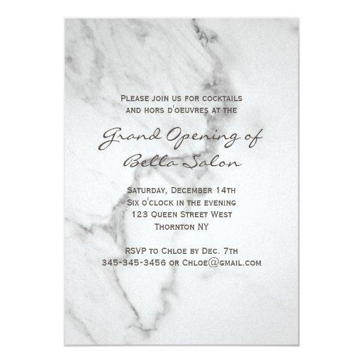 Elegant Marble Grand Opening Invitation   Zazzle