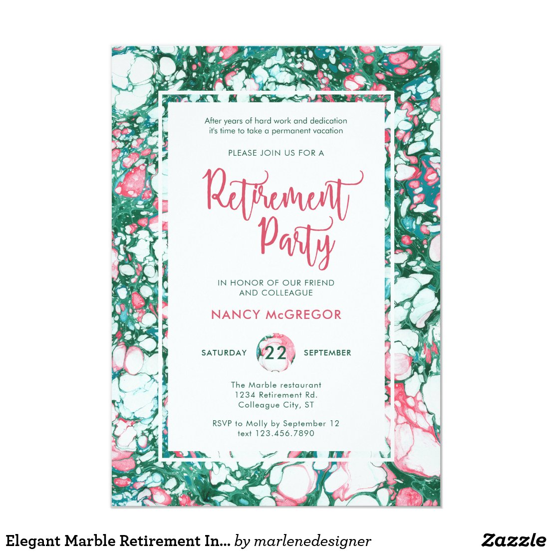 Elegant Marble Retirement Invitation