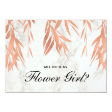 Elegant Marble Rose Gold | Be My Flower Girl Cards