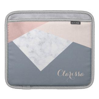 elegant marble rose gold grey beige geometric sleeve for iPads