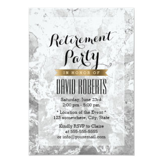 Elegant Marble Stone Texture Retirement Party Card