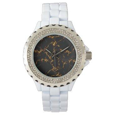 Beach Themed Elegant Marble style3 - Black Gold Wristwatch