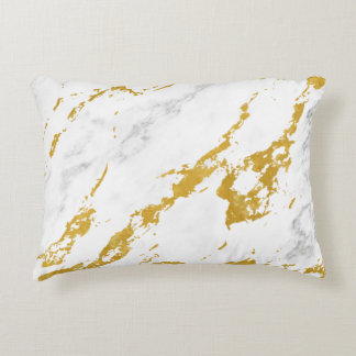 Elegant Marble style6 - Gold and White Accent Pillow