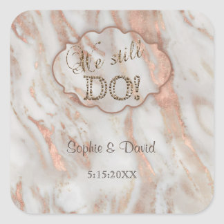 Elegant Marble We stll DO Renew the Vows Square Sticker