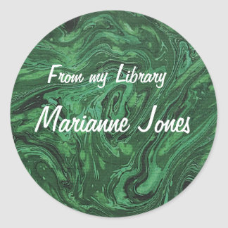 Elegant Marbled Paper Bookplate Stickers