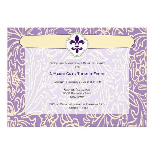 Elegant Mardi Gras Fleur de Lis Event Invitations