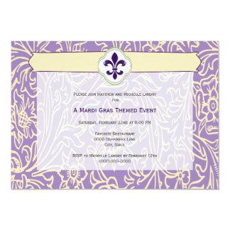 Elegant Mardi Gras Fleur de Lis Event 5x7 Paper Invitation Card