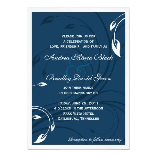 Elegant Marine Blue White Wedding Invitation