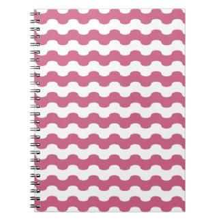 Elegant marine waves of pink geometry spiral notebook