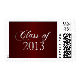 Elegant Maroon and Silver Class of 2013 Stamp