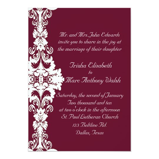 Elegant Maroon And White Wedding Invitation Zazzle Com