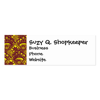 Elegant Maroon and Yellow Lace Damask Pattern Double-Sided Mini Business Cards (Pack Of 20)