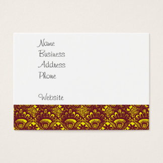 Elegant Maroon and Yellow Lace Damask Pattern Business Card