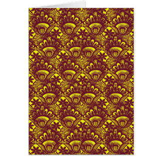 Elegant Maroon and Yellow Lace Damask Pattern Greeting Cards