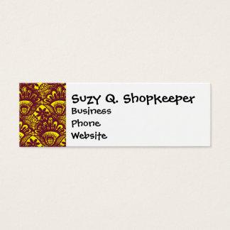 Elegant Maroon and Yellow Lace Damask Pattern Mini Business Card