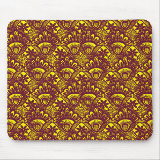 Elegant Maroon and Yellow Lace Damask Pattern Mouse Pad