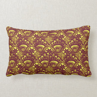 Elegant Maroon and Yellow Lace Damask Pattern Pillow