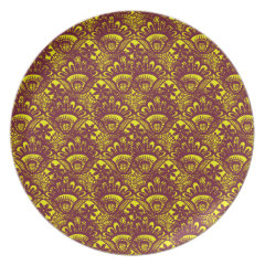 Elegant Maroon and Yellow Lace Damask Pattern Dinner Plates