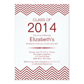 Elegant Maroon Chevron Graduation Party Invitation