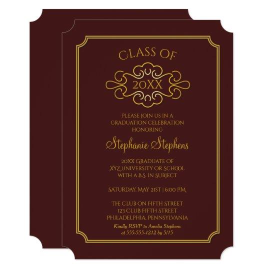 Elegant maroon gold college graduation party invitation zazzle elegant maroon gold college graduation party invitation filmwisefo