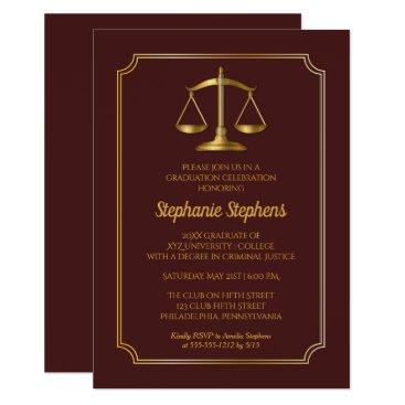 Elegant Maroon Gold Law Attorney Graduation Party Invitation