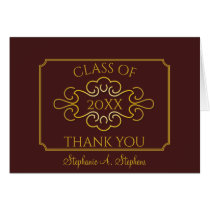 Elegant Maroon University Graduation Thank You