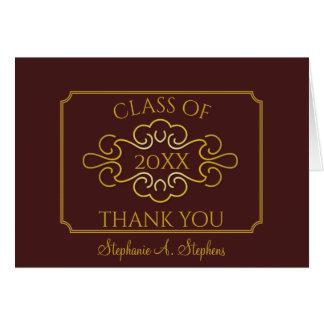 Elegant Maroon University Graduation Thank You Card