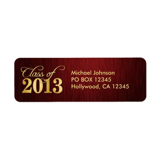 Elegant Maroon vignette and Gold Class of 2013 Label