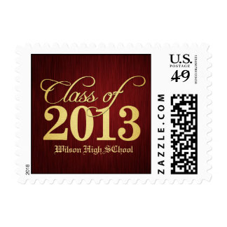 Elegant Maroon vignette  and Gold Class of 2013 Postage