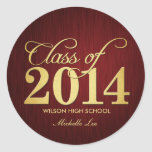 Elegant Maroon vignette and Gold Class of 2014 Round Stickers