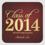 Elegant Maroon vignette and Gold Class of 2014 Square Sticker