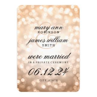 Elegant Marriage / Elopement Copper Bokeh Lights Card