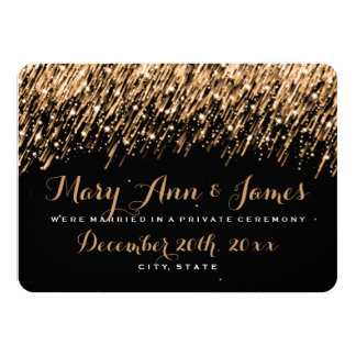 Elegant Marriage Elopement Falling Stars Gold Card