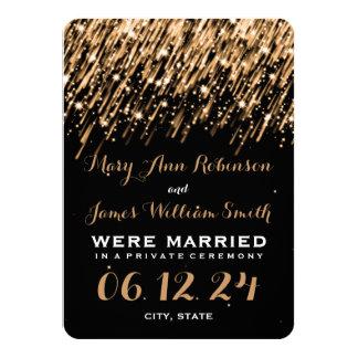 Elegant Marriage Elopement Falling Stars Gold Custom Announcement