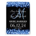 Elegant Marriage Elopement Sparkles Blue Personalized Invite