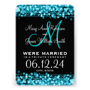 Elegant Marriage Elopement Sparkles Turquoise Personalized Invites