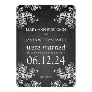 Elegant Marriage Elopement Vintage Swirls 2 Black Invites