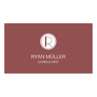 Elegant Marsala Professional Chic and Monogram Double-Sided Standard Business Cards (Pack Of 100)
