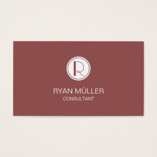 Elegant Marsala Professional Chic and Monogram Business Card