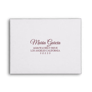 Elegant Marsala Wedding RSVP Envelope