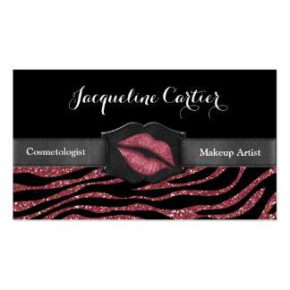Elegant Marsala Zebra Glitter Kiss Cosmetologist Double-Sided Standard Business Cards (Pack Of 100)