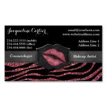Elegant Marsala Zebra Glitter Kiss Cosmetologist Magnetic Business Card