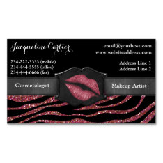 Elegant Marsala Zebra Glitter Kiss Cosmetologist Magnetic Business Card at Zazzle