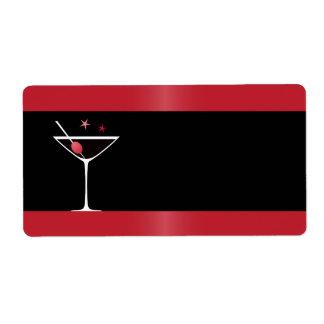 Elegant martini cocktail drink glass red black label