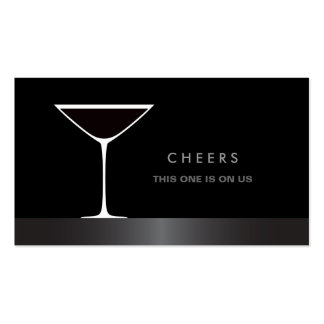 Elegant martini cocktail glass drink voucher Double-Sided standard business cards (Pack of 100)