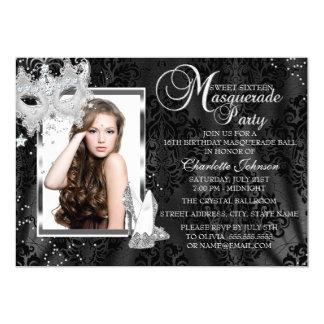 Elegant Mask & Heels Masquerade Photo Sweet 16 5x7 Paper Invitation Card