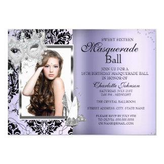 Elegant Mask Heels Masquerade Sweet 16 Lavender 3 Card