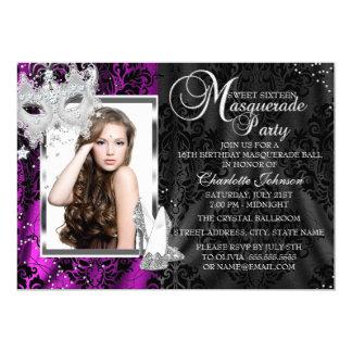 Elegant Mask & Heels Pink Masquerade Photo Sweet16 5x7 Paper Invitation Card