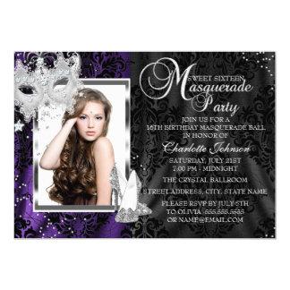 Elegant Mask & Heels Purple Masquerade Sweet 16 Card