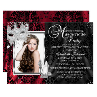 Elegant Mask & Heels Red Masquerade Sweet 16 Card